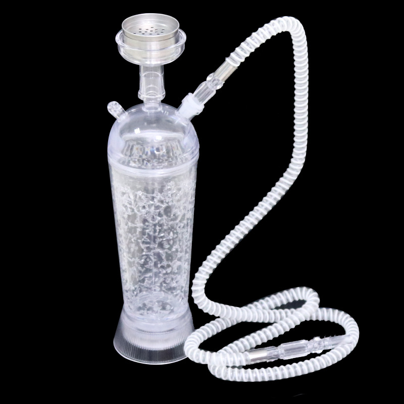 1Pcs High grade Acrylic narguile 9.5x32.5 cm hookah set Transparent shisha complete metal bowl chicha water hose Led light vase